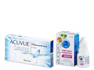 Acuvue Oasys (6 лінз) + краплі для очей Gelone 10 ml БЕЗКОШТОВНО