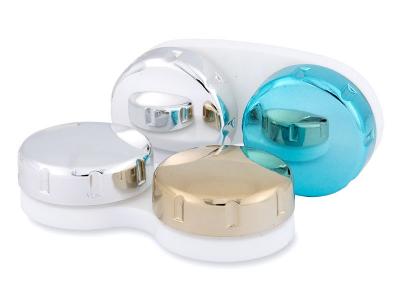 Контейнер для контактних лінз з дзеркальним покриттям - синій / сріблястий