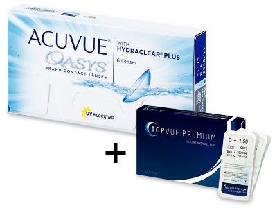 Acuvue Oasys (6 лінз) + 2 лінзи TopVue Premium БЕЗКОШТОВНО